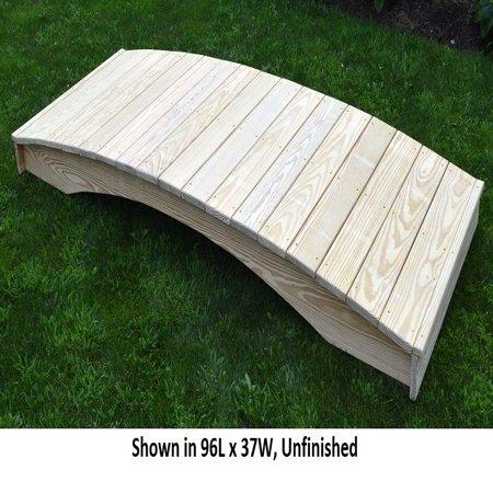 Backyard Crafts Linden Leaf Stained Weight-Bearing Pine Plank Garden Bridge - 3' x 4'