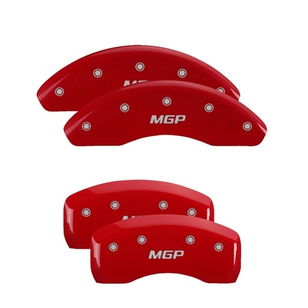 MGP 4 Caliper Covers Engraved Front & Rear MGP Red finish silver