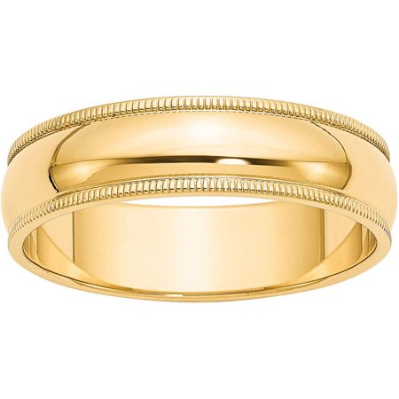 14k 6mm Milgrain Half-Round Wedding Band (Milgrain Anniversary Band)