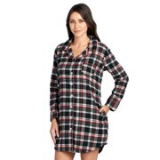 Ashford   Brooks Women s Flannel Plaid Long Lounge Shirt Sleep Nightshirt -  Black Ivory - X ba941c33d