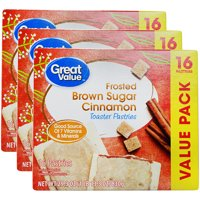 (3 Pack) Great Value Frosted Toaster Pastries, Brown Sugar Cinnamon, 29.3 oz, 16 Count