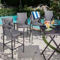 Clevertine Outdoor Wicker Barstools, Set of 4, Grey