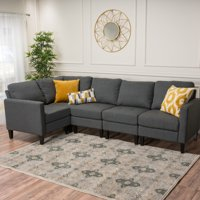 Noble House Aaron 5 Piece Fabric Sectional Couch, Multiple Colors