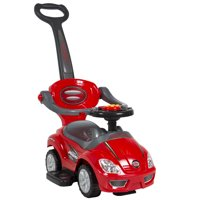 Best Choice Products Kids 3-in-1 Indoor Outdoor Push Car Toddler Ride On Wagon Play Toy Stroller w/ Handle, Horn, Music - Red