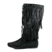 5044bda060726f Womens Mid Calf Flat Fringe Boots 3 Tier Layer New Size Faux Suede Moccasin