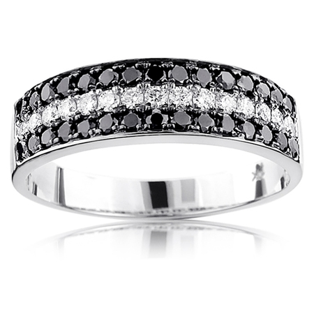 Unique 10K 3 Row White Black 1.3 Ctw Natural Diamond Wedding Band (White Gold Size 5)