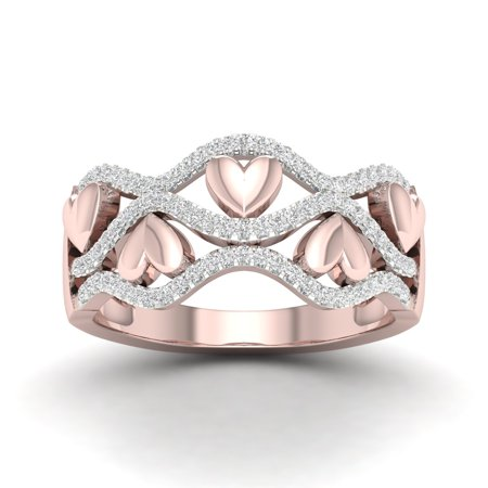 1/5Ct TDW Diamond 10k Rose Gold Ribbon and Heart Fashion Ring