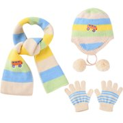 23f91cd6d5d5e Kids Knitted Hat-Fitbest Cute Kids Knitted Hat Scarf 3 Pieces Set Cartoon  Kids