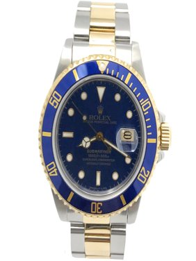Rolex Submariner 16803 Blue Luminous dial and Yellow Gold unidirectional Bezel (Certified Pre-Owned)
