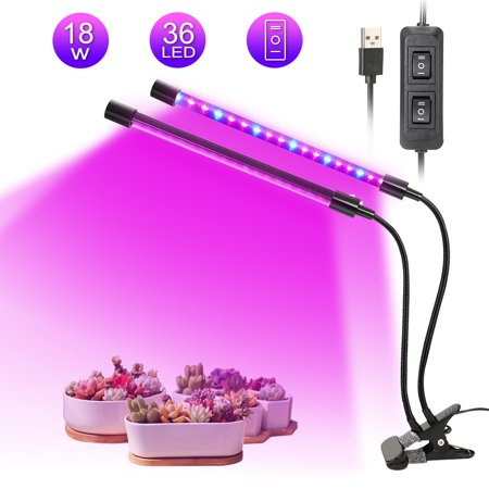 Dual Ballast Plant Grow Light - LED Plant Grow Lights, Dual Lamp 18W Greenhouse Gooseneck LED Grow Light for Indoor & Outdoor Plants,Hydroponic Garden,Greenhouses