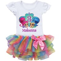 Personalized Shimmer And Shine Birthday Wish Rainbow Tutu Tee