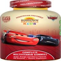 Sundown Naturals Kids Disney Cars 3 Complete Multivitamin Gummies, Grape Orange Cherry, 200 Ct