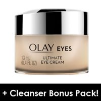 Olay Eyes Ultimate Eye Cream for wrinkles, puffy eyes, and dark circles, 0.4 fl oz + Daily Facial Dry Cleansing Cloths, 7 ct
