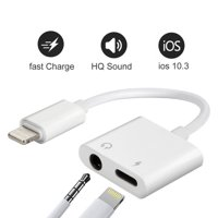 iPhone Headphone Adaptor, Dual Lightning Adapter & Splitter, 2 in 1 Aux Headphone Jack Audio & Charge Cable Adapter, 3.5mm Lightning Adapter for iPhone7/7Plus/8/8Plus/X, Support iOS 11 and Before
