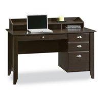 Sauder Shoal Creek Desk with Storage Drawers and Hutch, Jamocha Wood Finish