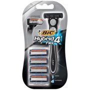 BIC Hybrid 4 Flex Men's 4-Blade Disposable Razor, 1 Handle 4 Cartridges