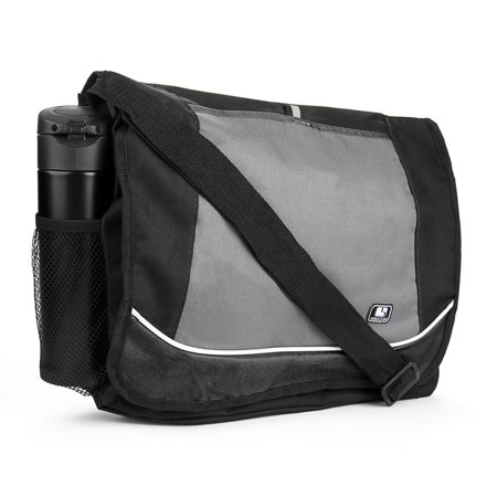 Universal Multi-purpose Canvas Messenger Shoulder Bag fits 15, 15.6, 16 inch Laptops / Notebooks / (Faux Suede Laptop Bag)