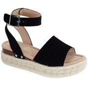 f29751342a53 Bessy-1 Women Flatform Platform Espadrille Ankle Strap Open Toe Sandal  Wedge Black
