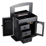 09576e7f6 Wooden Jewelry Box Built-in Mirror Ring Earring Necklace Organizer Storage  Case Black/White