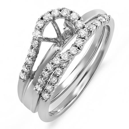 0.40 Carat (Ctw) Round Diamond Ladies Bridal Semi Mount Ring Set (No Center Stone)