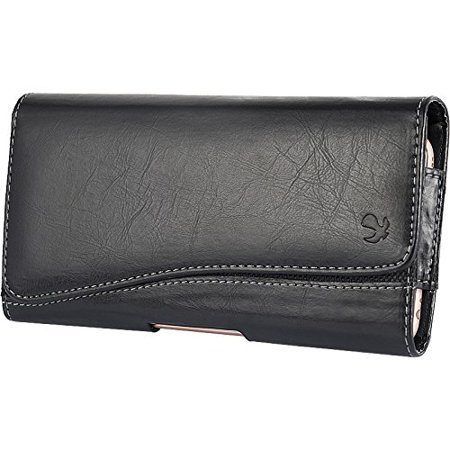 Htc Touch Diamond Leather (HTC Desire 626 626s ~ EXTRA LARGE Horizontal Leather Pouch Carrying Case Holster Belt Clip Magnetic Closure Fits - Black New)