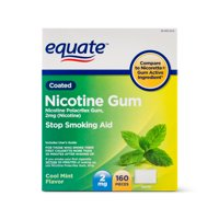Equate Coated Nicotine Gum, Cool Mint Flavor, 2 mg, 160 Count
