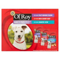 Ol' Roy Mini Chunks in Gravy Wet Dog Food Variety Pack: Filet Mignon, Savory Beef & Country Stew, 3.97 lb, 12 Count