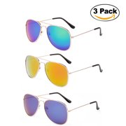 c9c7f7bfe30 Newbee Fashion - 2 Pack   3 Pack Classic Aviator Sunglasses Flash Full  Mirror lenses Metal