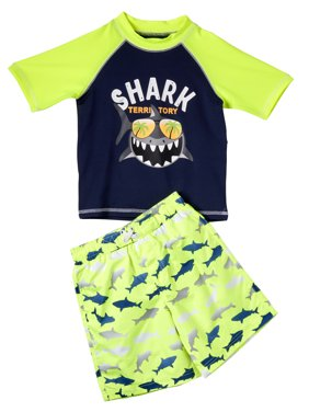 Shark Print Swim Trunk and Rash Guard, 2-Piece Outfit Set (Little Boys)