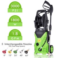 Hifashion 3000PSI 1.8GPM Electric Power Pressure Washer with 5 Quick-Connect Nozzle,Longer Cables and Hoses and Detergent Tank for Cleaning Cars,Patios