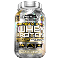 MuscleTech Pro Series Premium Gold 100% Whey Protein Powder, Vanilla Ice Cream, 24g Protein, 2.5 Lb