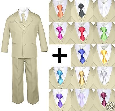6pc Boy Kid Teen Formal Wedding Khaki Stone Suit Tuxedo Extra Satin Necktie S-4T - Pink Tuxedo
