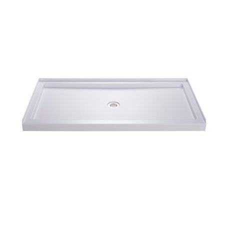 DreamLine SlimLine 34 in. D x 54 in. W x 2 3/4 in. H Center Drain Single Threshold Shower Base in White 38' Neo Angle Shower Base