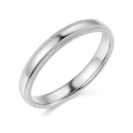 - 3mm Platinum Milgrain Wedding Band Solid 950
