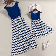 b830ef53453 Mother and Daughter Casual Boho Stripe Maxi Dress Mommy Me Matching Outfits