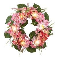 "Rose Cream Hydrangea Floral Spring Summer Front Door Wreath with Lights, 16"""