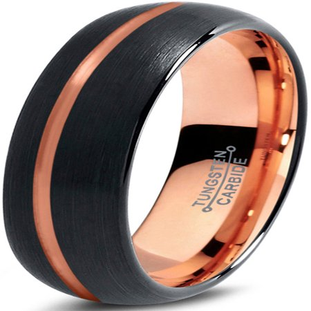 Tungsten Wedding Band Ring 6mm for Men Women Black & 18K Rose Gold Plated Offset Line Dome Brushed Polished Lifetime Guarantee ()