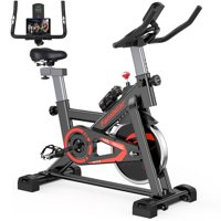 Famistar Exercise Bike Indoor Cycling Stationary Bike with 28.6Lbs Flywheel (Red)
