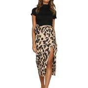 bc7c3cd352 JustVH Women's Leopard Printed High Waist Slit Casual Knee Length Skirt