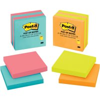 Post-it Pop-Up Sticky Notes 4 Pack, Neon Color Collection (Colors May Vary)