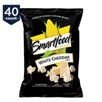 Smartfood White Cheddar Flavored Popcorn Snack Pack, 0.625 oz Bags, 40 Count
