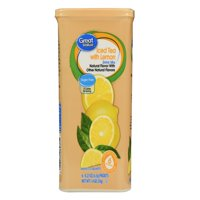 (4 Boxes) Great Value Drink Mix, Iced Tea with Lemon, Sugar-Free, 1.4 oz, 6 Count
