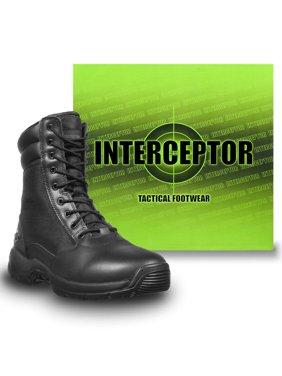 Interceptor Kentin Zippered Tactical Men's Work Boots, Black, Size 7.5