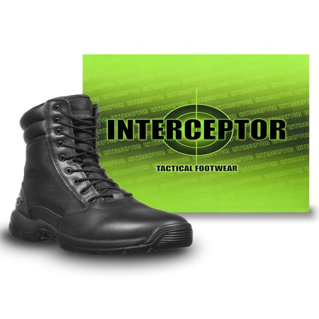 Interceptor Men's Kentin Zippered Tactical Work Boots, Black](Bernard Boots)