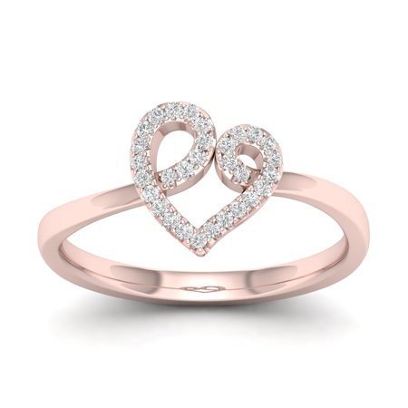 - 1/10Ct TDW Diamond 10k Rose Gold Open Heart Fashion Ring