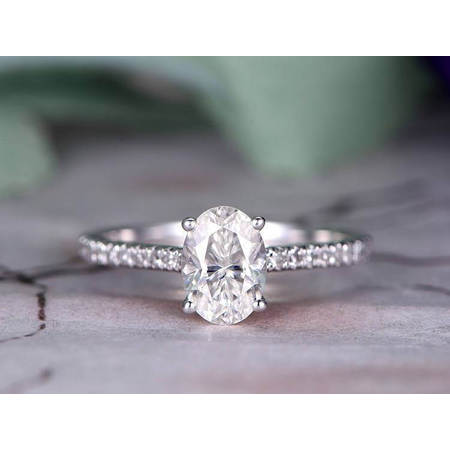 Antique Style Engagement Ring Mounting (Antique Style Oval cut 1.25 ct Moissanite & Diamond Engagement Ring in White Gold )