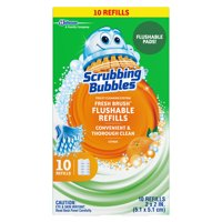 (2 pack) Scrubbing Bubbles Fresh Brush Toilet Cleaning System, Flushable Refill, 10 ct