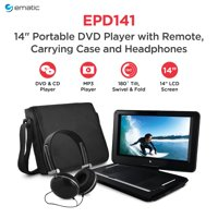 "Ematic 14"" Portable DVD Player with Remote, Carrying Case & Headphones - Black"