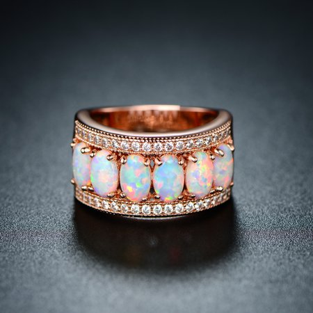 18K Rose-Gold Plating Oval-Cut White Fire Opal & Cubic Zirconia Ring