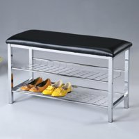 Roundhill Metal Shoe Bench with Faux Leather Seat, Chrome and Black